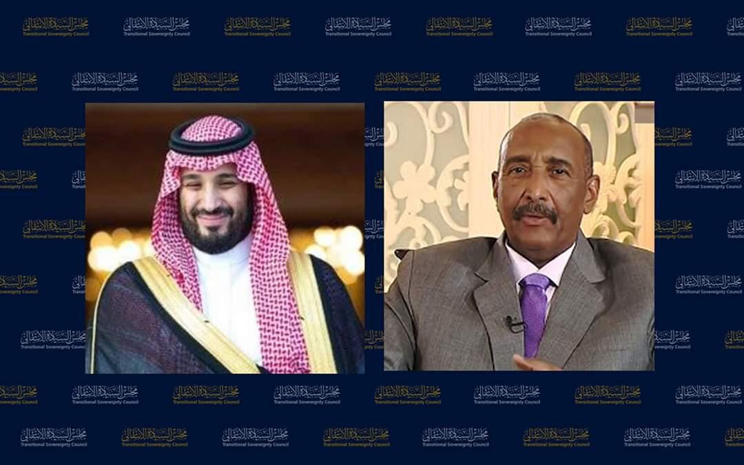 رئيس مجلس السيادة يتلقى اتصالا هاتفيا من ولي العهد السعودي