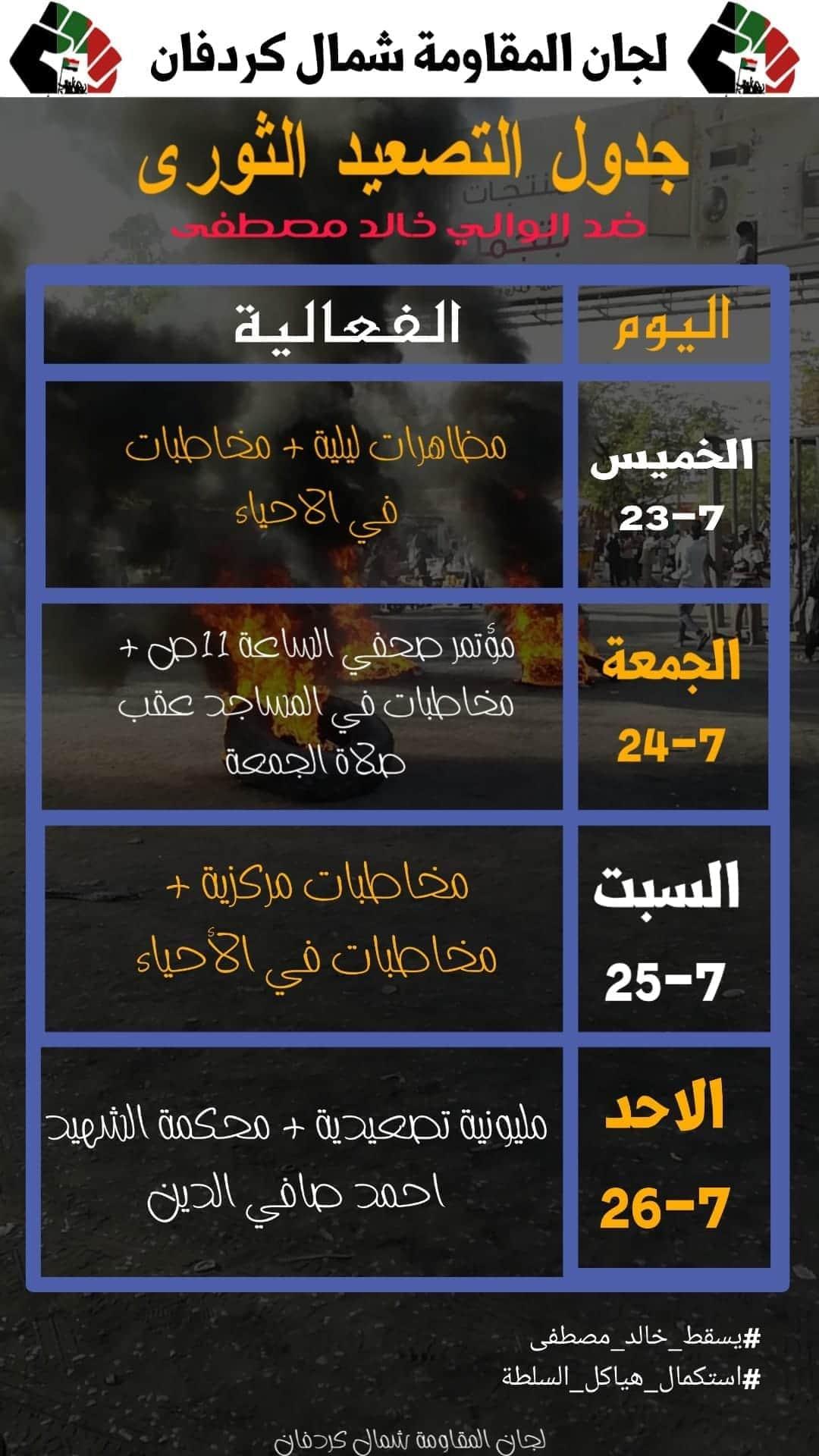 بالصورة: لجان مقاومة شمال كردفان تُعلن عن جدولها التصعيدي ضد قرار تعيين الوالي خالد مصطفى