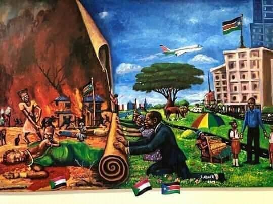 بالصورة : لوحة لشاب من جنوب السودان تضج بها الأسافير